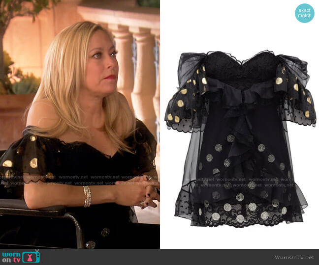 Ruffled Off-the-Shoulder Lace Mini Dress by Dundas worn by Sutton Stracke  on The Real Housewives of Beverly Hills