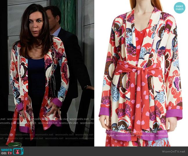 April Floral Mix Print Tie Waist Jacket by Diane von Furstenberg worn by Anna Devane (Finola Hughes) on General Hospital