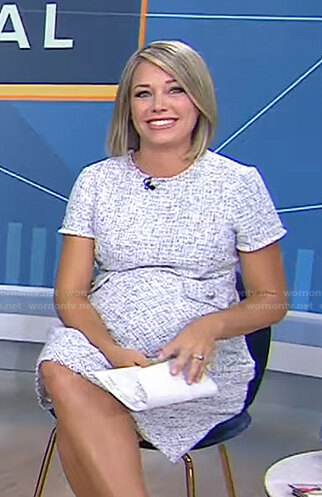 Dylan's white tweed maternity dress on Today