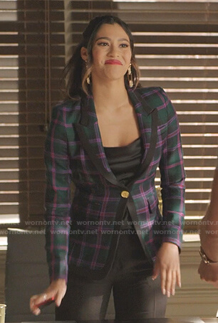Eva's green plaid blazer on Dynasty