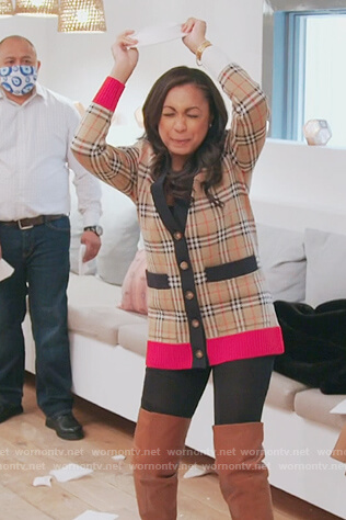 Ebony's plaid cardigan on The Real Housewives of New York City