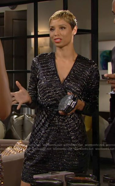 Elena's black embellished party dress on The Young and the Restless