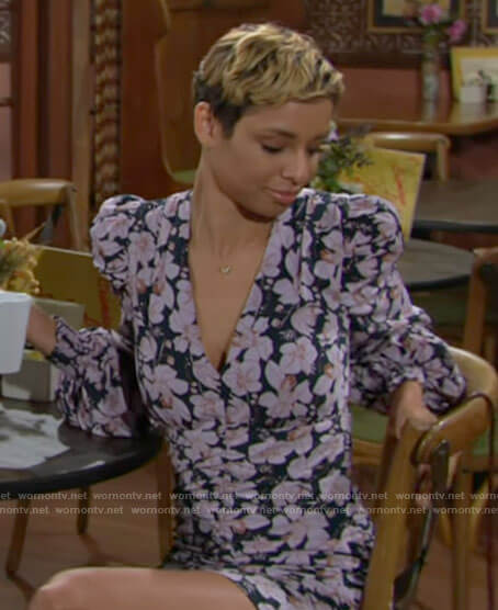 Elena's floral puff sleeve mini dress on The Young and the Restless