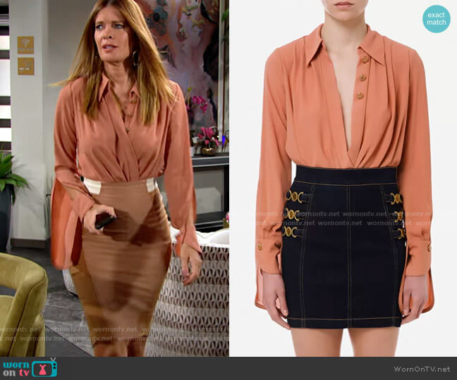 Elisabetta Franchi Bodysuit-style crossover blouse in georgette fabric  worn by Phyllis Summers (Michelle Stafford) on The Young & the Restless
