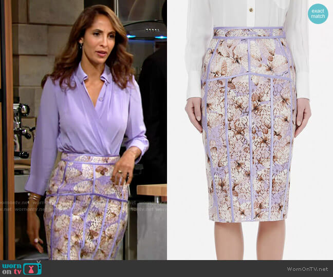 Elisabetta Franchi Calf-length skirt in lace fabric with butterfly print in Lavender worn by Lily Winters (Christel Khalil) on The Young & the Restless