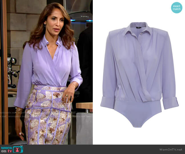 Elisabetta Franchi Bodysuit Style Shirt worn by Lily Winters (Christel Khalil) on The Young & the Restless