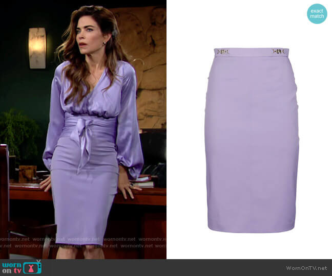 Elisabetta Franchi Horsebit Pencil Skirt worn by Victoria Newman (Amelia Heinle) on The Young & the Restless