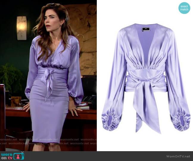 Elisabetta Franchi Silk Wraparound Blouse worn by Victoria Newman (Amelia Heinle) on The Young & the Restless