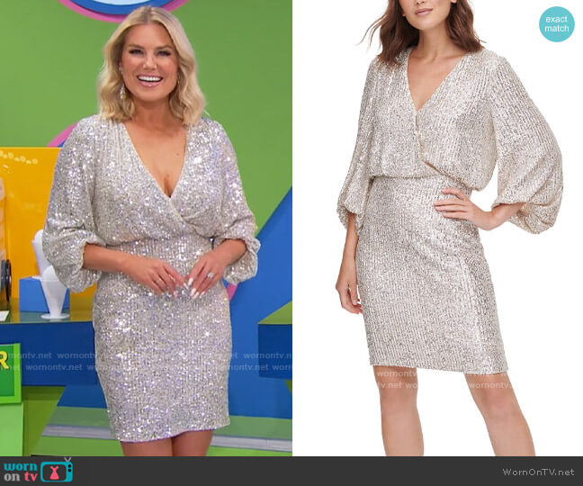 Eliza J Sequined Blouson Shift Dress worn by Rachel Reynolds  on The Price is Right