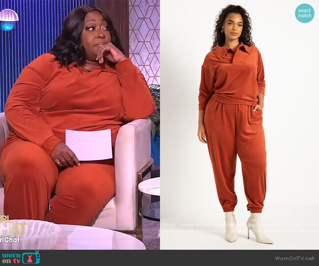 Stretch Corduroy Collared Pullover and Joggers by Eloquii worn by Loni Love  on The Real