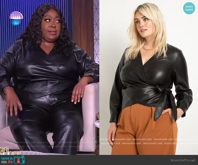 Faux Leather Wrap Top by Eloquii worn by Loni Love  on The Real