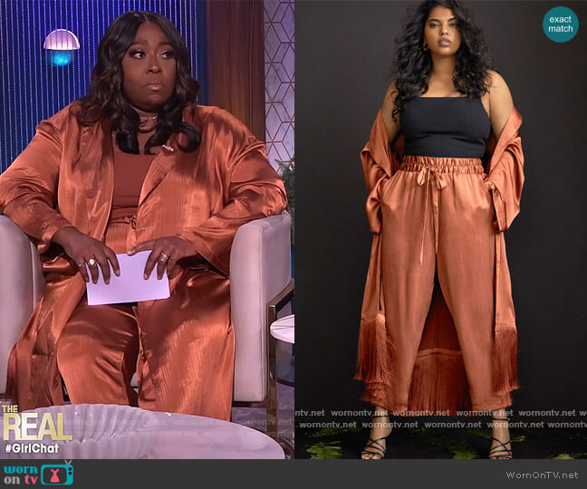 Satin Duster with Fringe Detail by Eloquii worn by Loni Love  on The Real