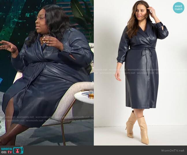 Shawl Collar Vegan Leather Dress by Eloquii worn by Loni Love  on E! News