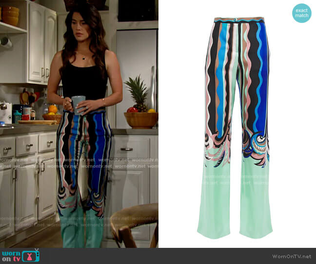 Emilio Pucci Printed silk-twill wide-leg pants worn by Steffy Forrester (Jacqueline MacInnes Wood) on The Bold & the Beautiful