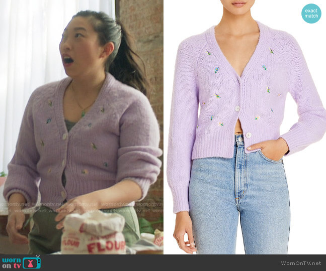 English Factory Embroidered Knit Cardigan worn by Nora Lum (Awkwafina) on Awkwafina is Nora From Queens