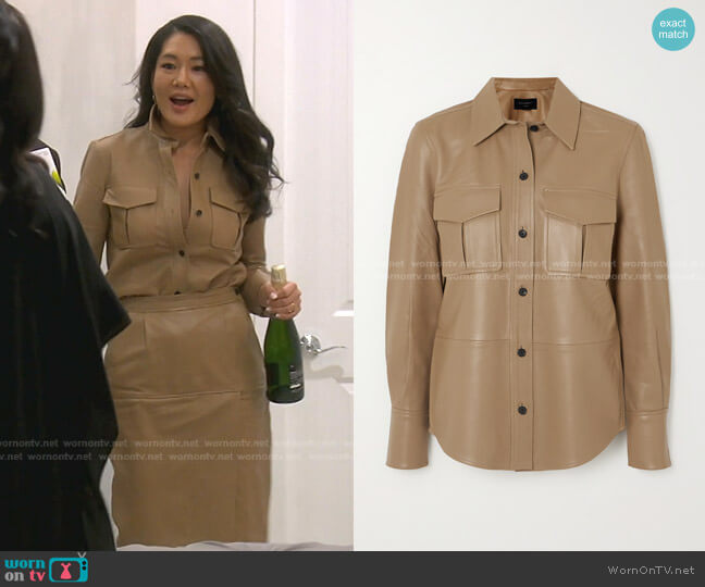 Garcella Leather Shirt by Equipment worn by Crystal Kung Minkoff  on The Real Housewives of Beverly Hills