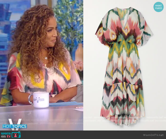 Libellule printed silk-crepon dress by Eres worn by Sunny Hostin  on The View