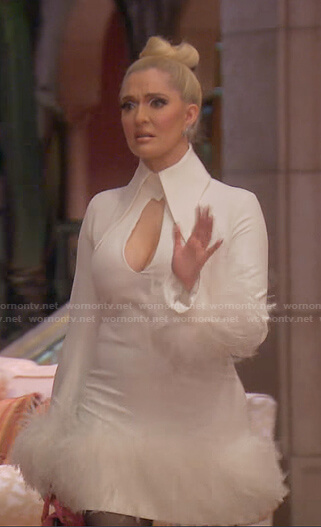 Erika's white feather trim cutout dress on The Real Housewives of Beverly Hills