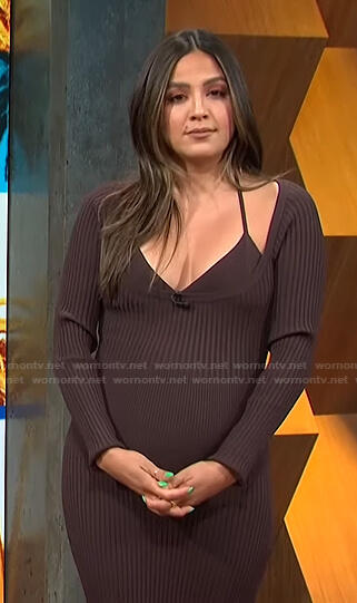 Erin's brown ribbed scoop neck dress on E! News Daily Pop