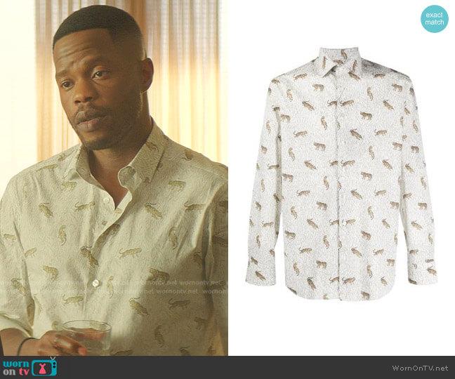 Tiger-Print Long-Sleeve Shirt by Etro worn by Jeff Colby (Sam Adegoke) on Dynasty