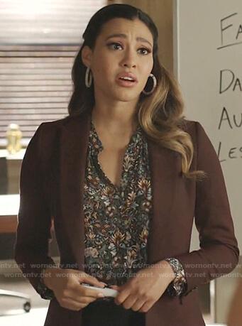 Eva's floral v-neck blouse on Dynasty