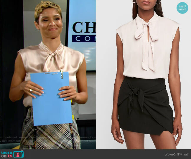Express Satin Tie Neck Cap Sleeve Top in Truffle Pink worn by Elena Dawson (Brytni Sarpy) on The Young & the Restless