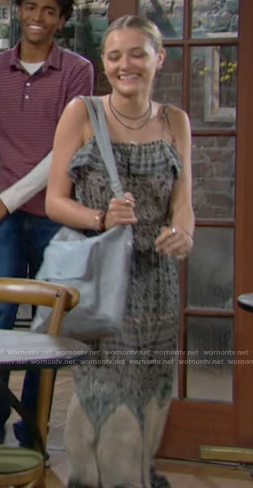Faith's printed maxi dress on The Young and the Restless