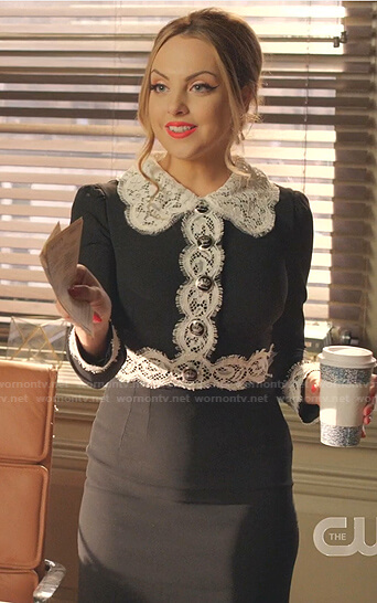 Cristal's white floral tie neck blouse on Dynasty
