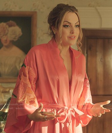 Fallon's pink floral embroidered robe on Dynasty