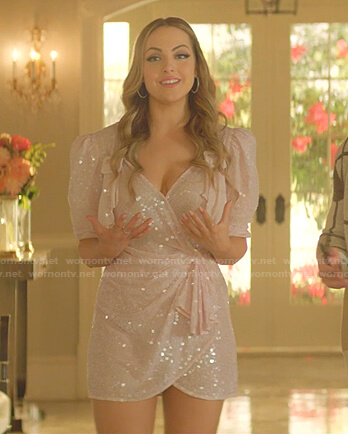 Fallon's pink sequin mini dress on Dynasty