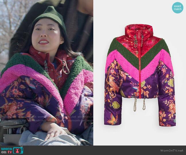 Farm Rio Cosmic Floral Puffer worn by Nora Lum (Awkwafina) on Awkwafina is Nora From Queens