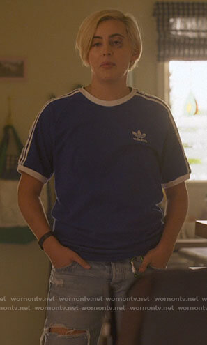 Finley's blue Adidas t-shirt on The L Word Generation Q