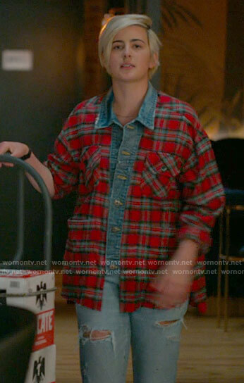 Finley's red plaid shirt with denim detials on The L Word Generation Q
