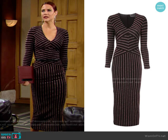 Fleur Du Mal Mitered Striped Dress worn by Sally Spectra (Courtney Hope) on The Young & the Restless