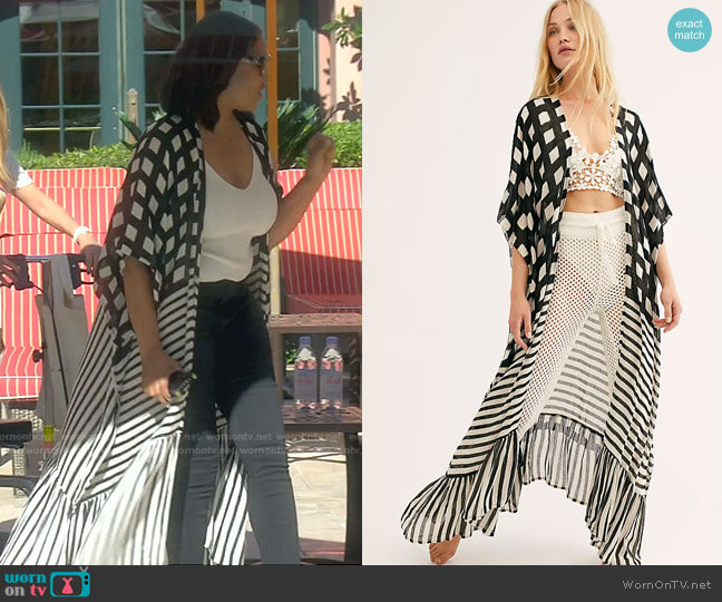 Kenna Ruffle Kimono by Free People worn by Garcelle Beauvais  on The Real Housewives of Beverly Hills