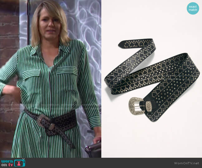 Piper Studded Waist Belt by Free People worn by Nicole Walker (Arianne Zucker) on Days of our Lives