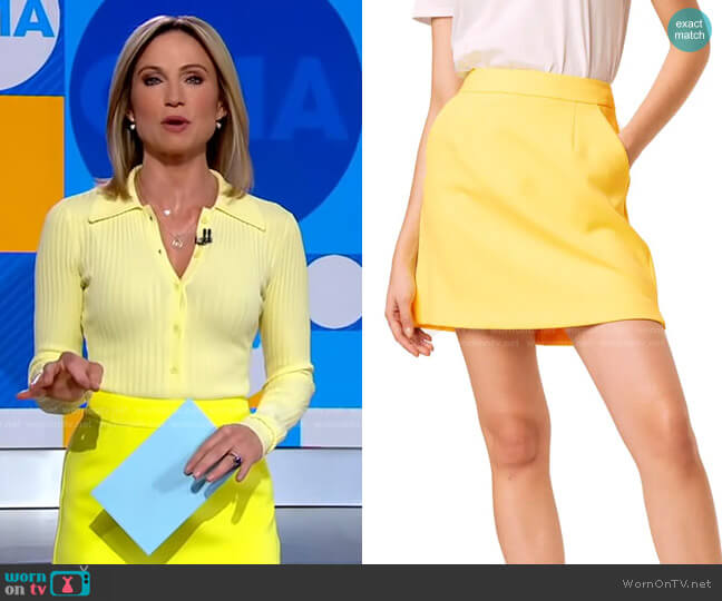 Adisa Sundae Suiting Skirt by French Connection worn by Amy Robach  on Good Morning America