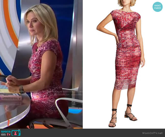 Cap-Sleeve Printed T-Shirt and Ruched Midi Skirt by Fuzzi worn by Amy Robach  on Good Morning America