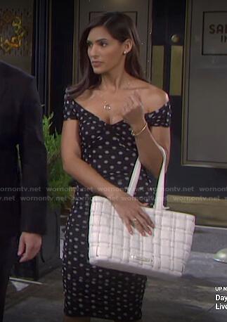 Gabi's black polka dot off-shoulder dress on Days of our Lives