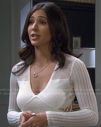 Gabi's white crochet dress on Days of our Lives