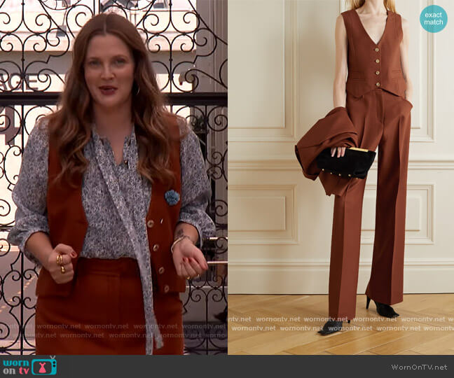 Zelos wool and silk-blend twill vest and pants by Gabriela Hearst worn by Drew Barrymore  on The Drew Barrymore Show