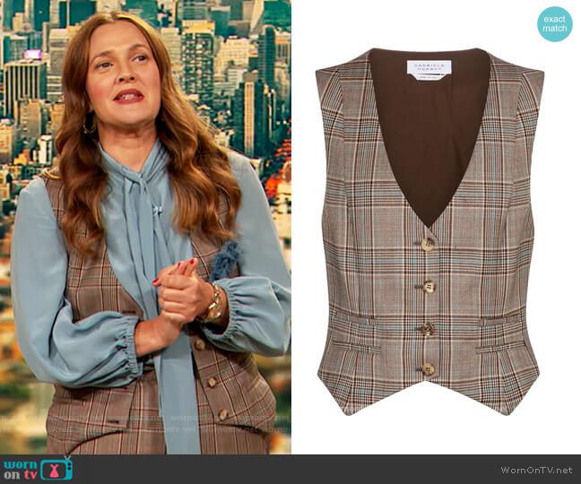 Zelos checked virgin wool vest by Gabriela Hearst worn by Drew Barrymore  on The Drew Barrymore Show