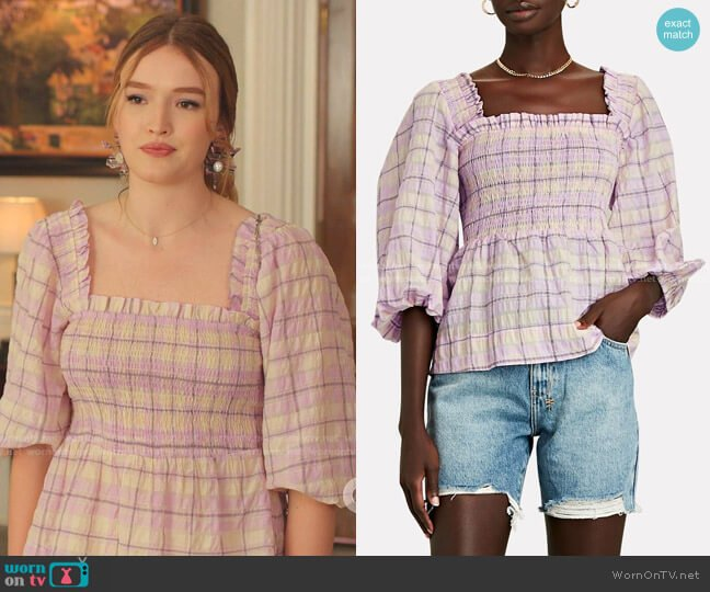 Smocked Seersucker Plaid Top by Ganni worn by Kirby Anders (Maddison Brown) on Dynasty
