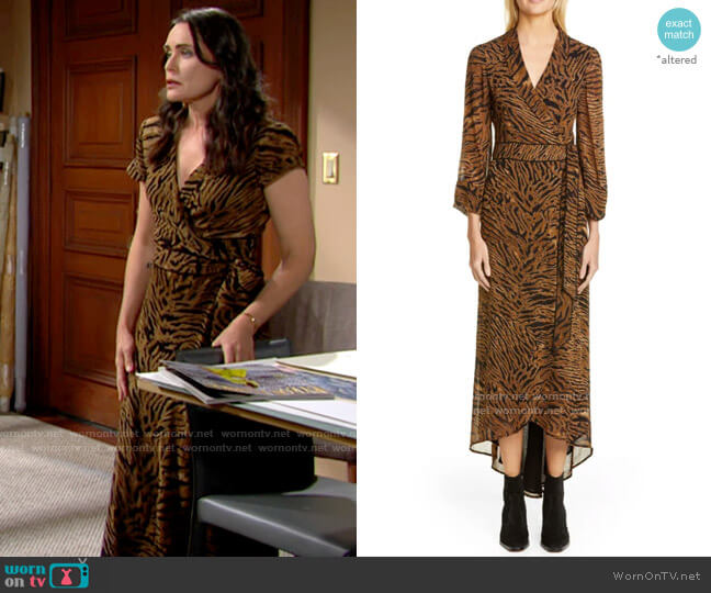 Ganni Tiger Print Georgette Midi Wrap Dress worn by Quinn Fuller (Rena Sofer) on The Bold & the Beautiful