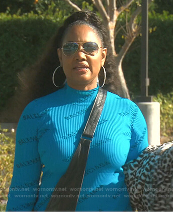 Garcelle's blue logo print ribbed dress on The Real Housewives of Beverly Hills