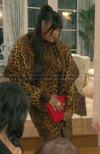 Garcelle's leopard print dress and coat on The Real Housewives of Beverly Hills