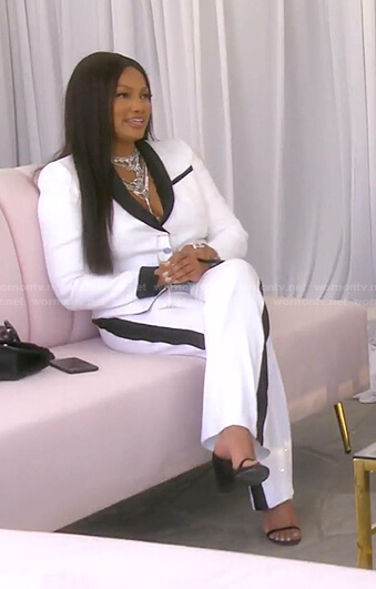 Garcelle's white and black blazer and pants on The Real Housewives of Beverly Hills
