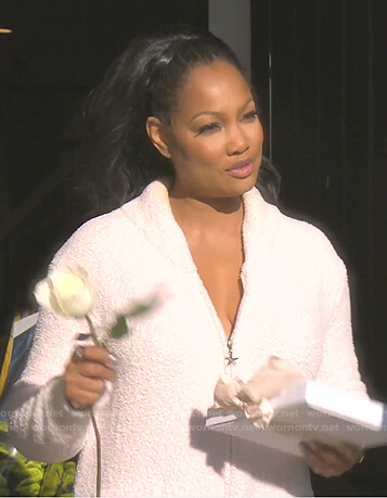 Garcelle's white zip front robe on The Real Housewives of Beverly Hills