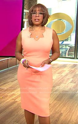 Gayle's coral zig zag trim dress on CBS Mornings