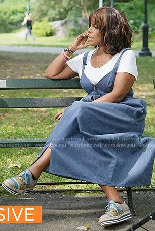 Gayle King's denim zip front midi dress on CBS Mornings
